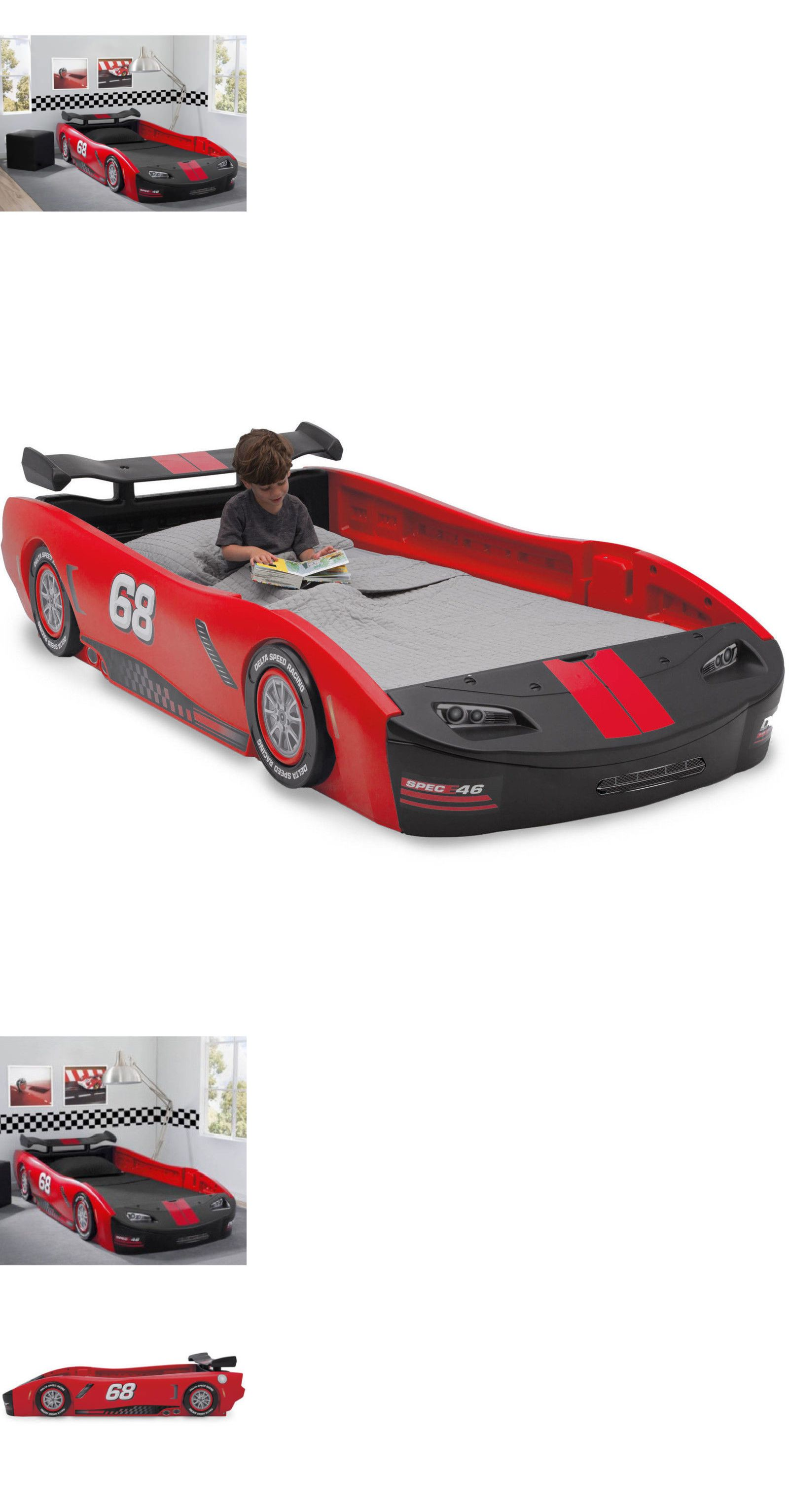 Bedroom Furniture 66742 Twin Size Bed Turbo Race Car Red