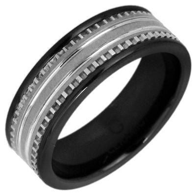 Zales Mens 7.5mm Black Ceramic and Stainless Steel Wedding Band Ew7RZMh