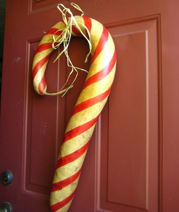 Large Candy Cane Decorations Candy Cane Gourd Door Decoration  Christmas Holiday Porch