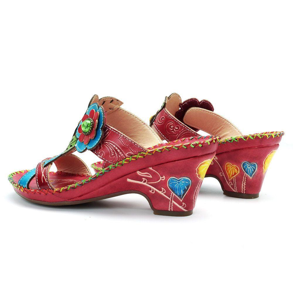 96212243832 SOCOFY Bohemian Genuine Leather Adjustable Hook Loop Handmade Pattern  Sandals
