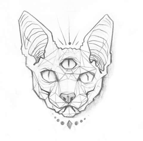 Geometric Tattoo Cat Tattoo Sketch Cat Tattoo Sketches Sphynx Cat Tattoo