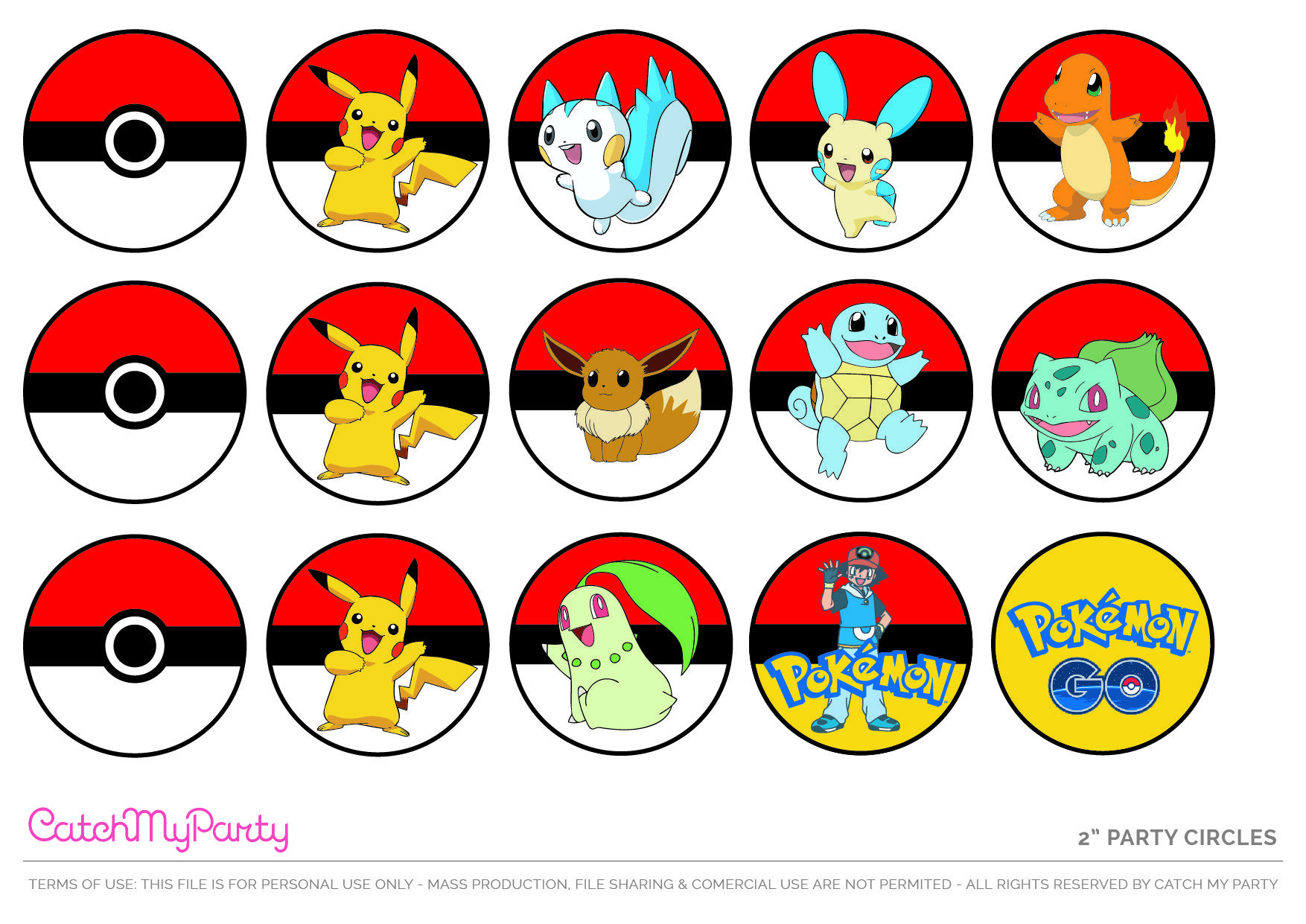 Free Pokemon Party Printable Cupcake Toppers