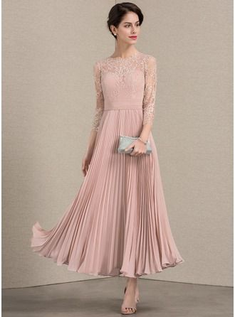 b00263e7919 A-Line Princess Scoop Neck Ankle-Length Pleated Zipper Up Sleeves 3 4  Sleeves No Dusty Rose General Plus Chiffon Lace Height 5.7ft Bust 33in  Waist 24in ...