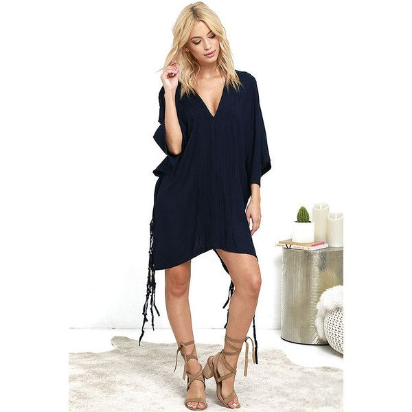 ac92456d2b Mila Catalina Navy Blue Cover-Up ( 63) ❤ liked on Polyvore featuring  swimwear