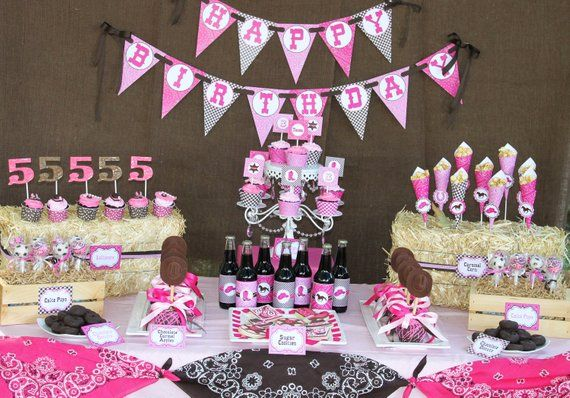 Cowgirl BANNER Birthday Party PRINTABLE Baby Shower Bridal Brown Hot Pink Horse Boot