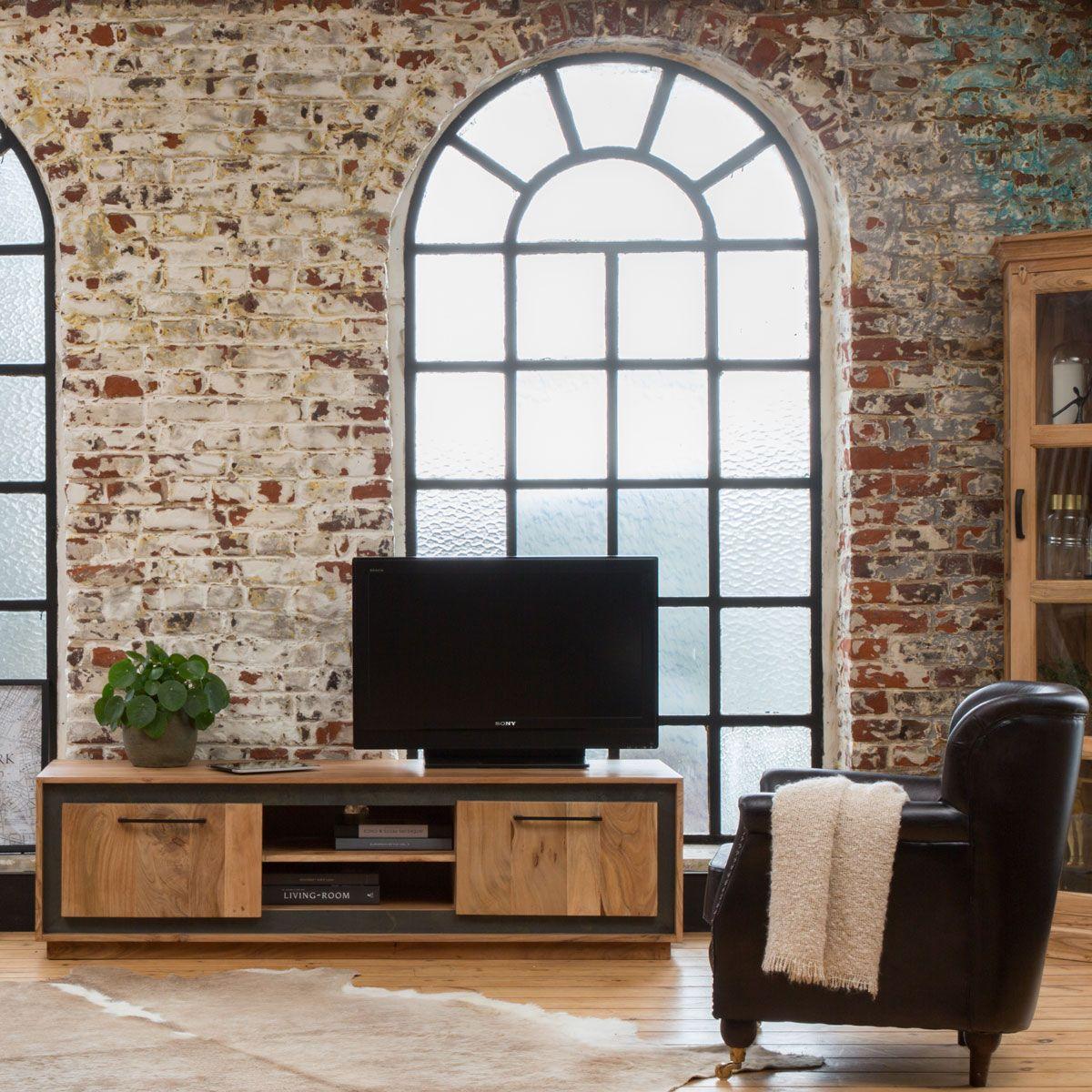 Meuble Tv 2 Portes 2 Niches Acacia Et Contour Noir En 2020 Meuble Tv Meuble Et Meuble Tv Bois