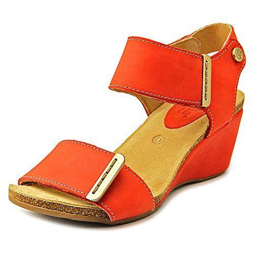 Womens orange wedge sandals