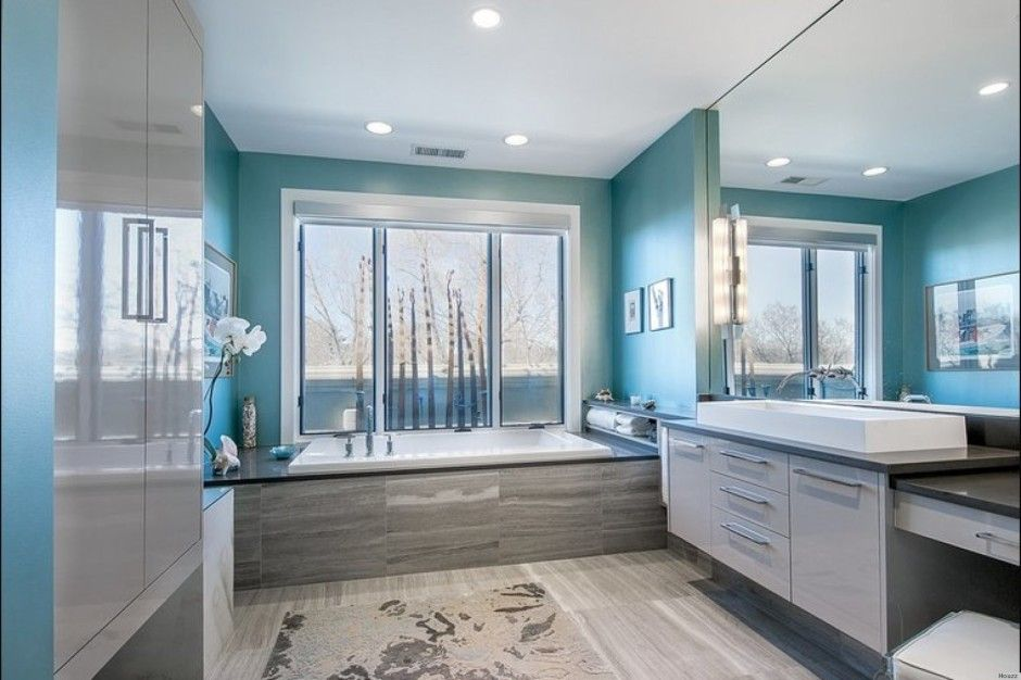 1950 bathrooms modern paint | Bathroom Blue Sea And White Bathroom Paint Ideas With Large Mirror And ...