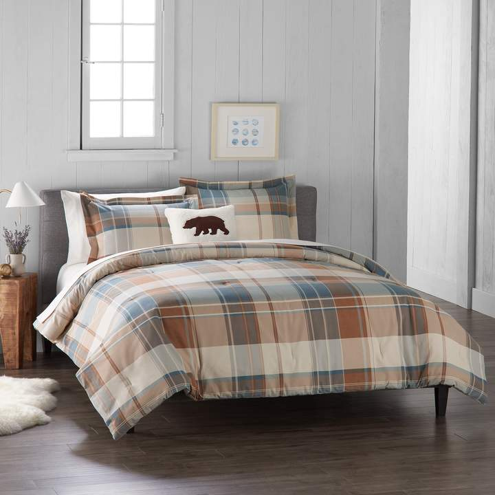 Cuddl Duds Home Blue Plaid 4 Piece Flannel Comforter Set