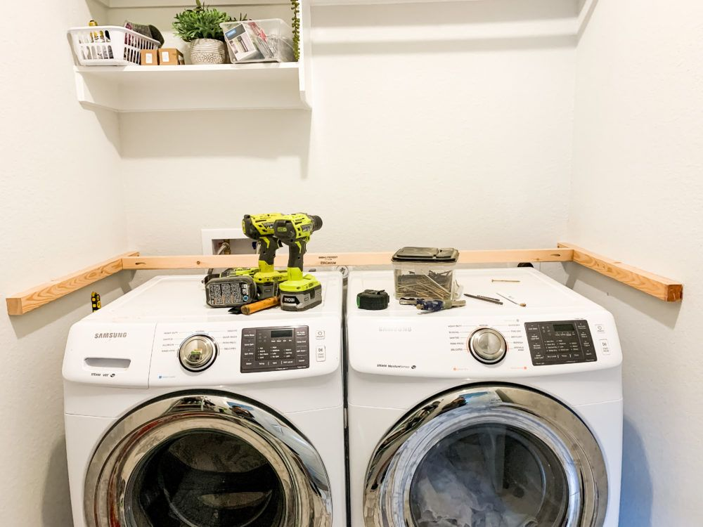 DIY Wood Laundry Room Counter - Love & Renovations in 2020 ...