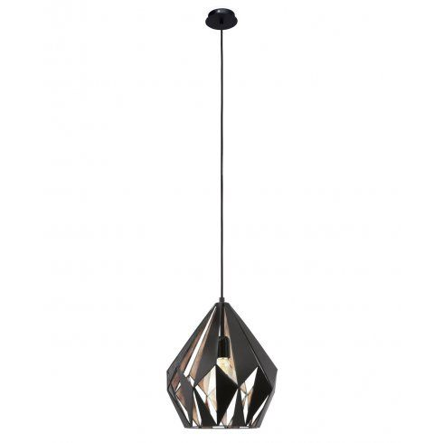 Eglo vintage vintage single light ceiling pendant in black and copper finish lighting type from
