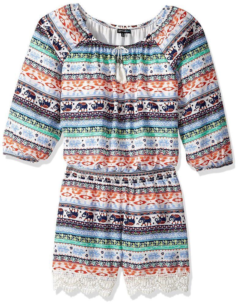 829d16728c0 My Michelle Girls Multi Printed Crochet Trim Long Sleeve Romper Outfit Size  L 14  MyMichelle  Romper