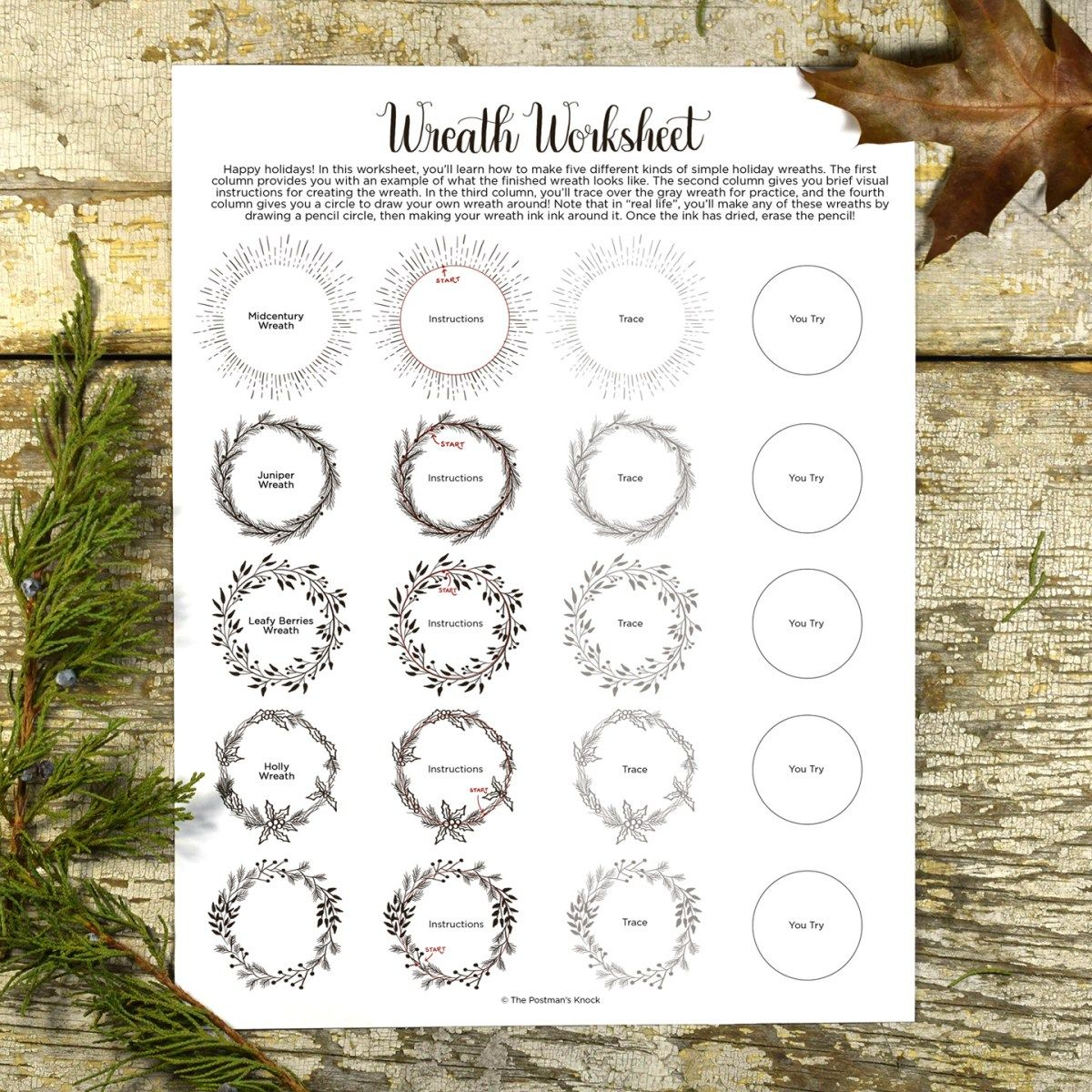 Simple Illustrated Wreath Worksheet