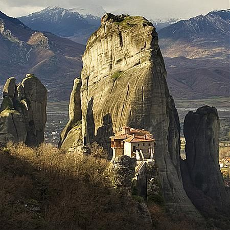 """The Metéora (Greek: """"in the heavens above"""") is one of the largest and most important complexes of Eastern Orthodox monasteries in Greece. It was constructed in 14th century by monks. The average elevation of the monasteries is 313 metres. Indeed, a place lives up to its name!"""