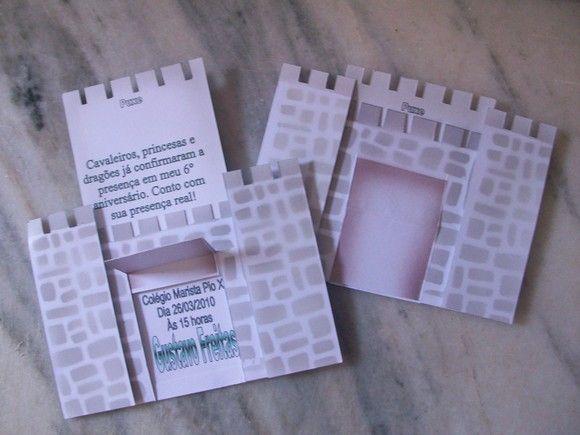 convite formato castelo, confeccionado em papel de alta gramatura, estampa exclusiva  pedido minimo: 20 unidades frete por conta do comprador  criação Ana Maria Freitas R$5,20