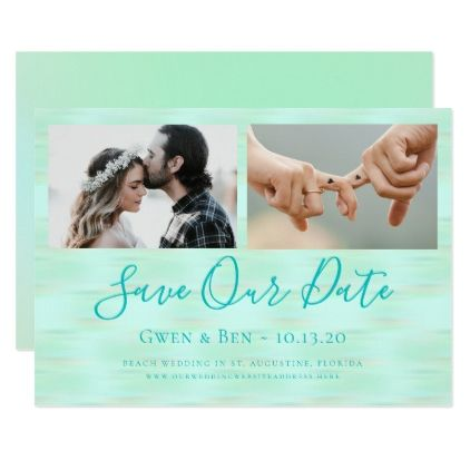 Photo Save Our Date Beach Gl Green Card Wedding Invitations Cards Custom Invitation Design