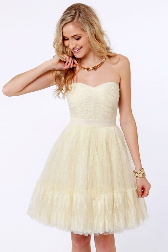 Odette&39s Vignette Strapless Cream Dress  Tulle dress Gorgeous ...