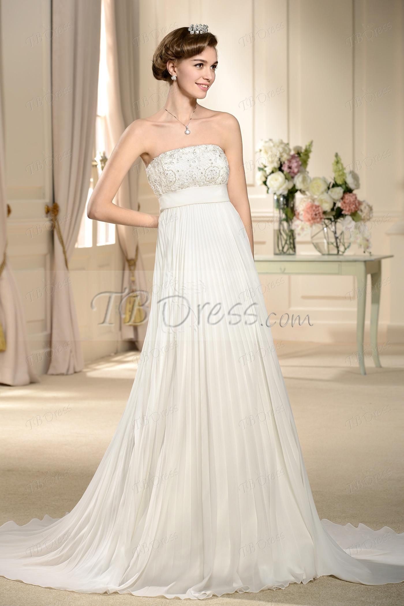 Empire waist aline draped strapless court train wedding dress