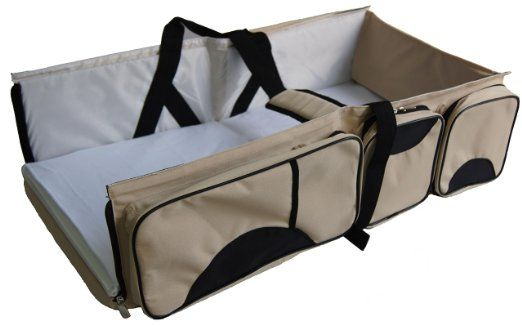 Amazon.com : 3 In 1   Diaper Bag   Travel Bassinet   Change Station    (Cream)   Multi Purpose #1 Baby Diaper Tote Bag Bed Nappy Infant Carrycot  Crib Cot ...