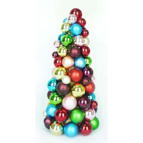 "Decorative Christmas Ball Ornaments 12"" Multicolor Jewel Shatterproof Christmas Ball Ornament Table"