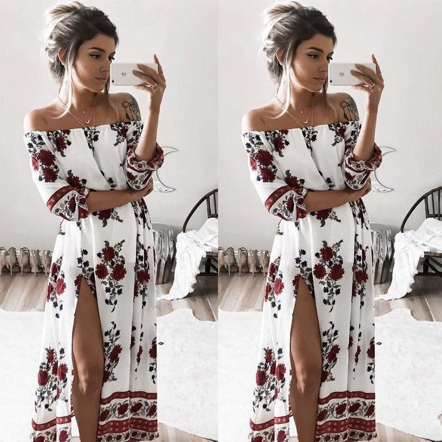 26f5a376ee68 Women Ladies Clothing Dress Chiffon Floral Long Sleeve Party Flower Casual Long  Maxi Dresses Women Summer