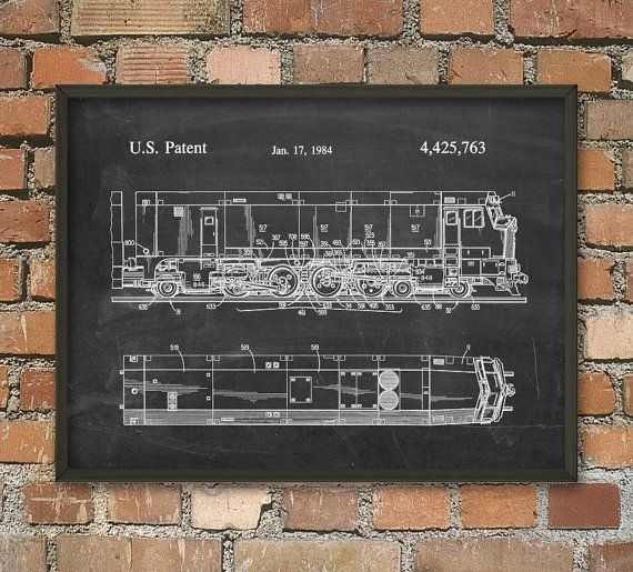 Locomotive Patent Print  Train Wall Art Poster 3  by QuantumPrints