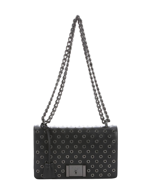6c0794e704dc PRADA Black Calfskin Grommeted Chain Shoulder Bag'. #prada #bags #shoulder  bags #leather #lining #