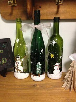 Flaschendeko zu Weihnachten -Weihnachtsschmuck aus recycelten Flaschen