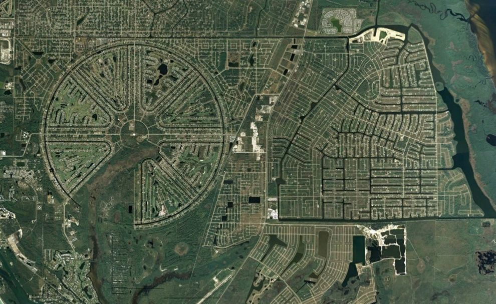Uncompleted Manscape. The Rotonda West neighborhood, originally developed in the 1960s, never quite fully completed, located in Charlotte County, Florida.