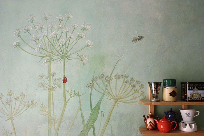 Küche mit Wiesenmotiv | Blumen wandbild, Wandgestaltung ...