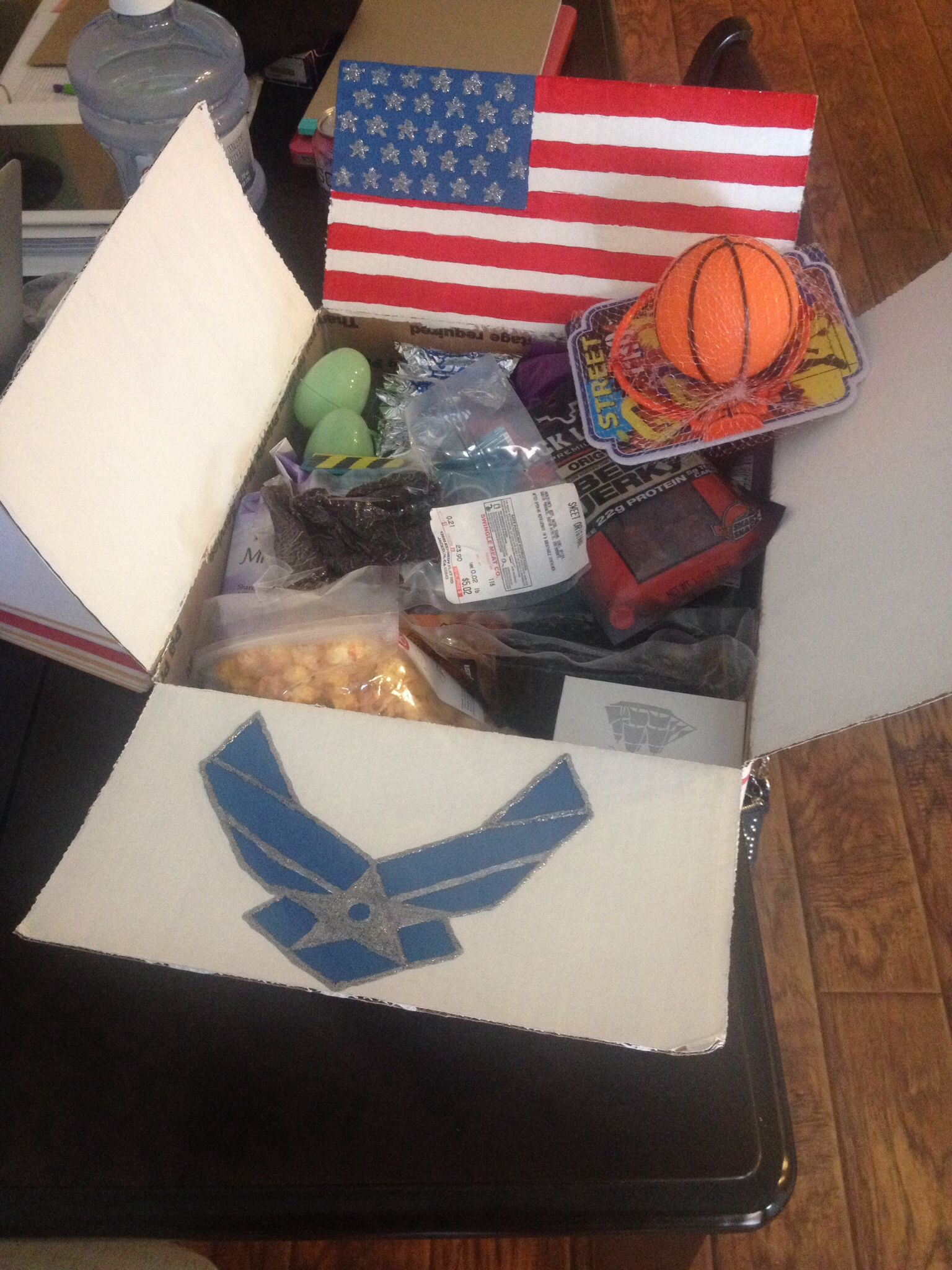 Care package for the boyfriend. airforce carepackage