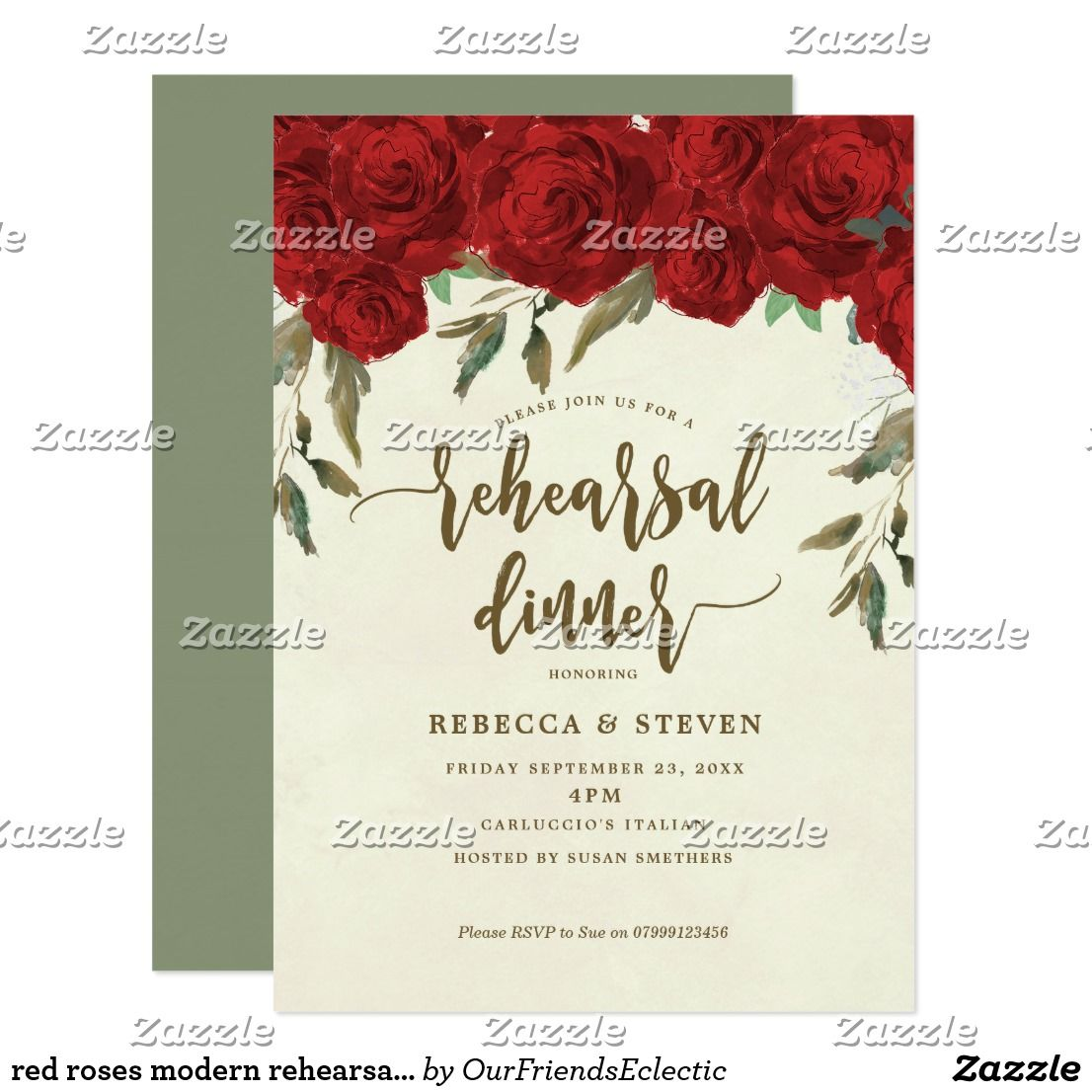Red roses modern rehearsal dinner invitation | Rehearsal dinner ...