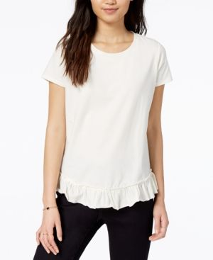 Maison Jules Womens Ruffled Short Sleeves T-Shirt
