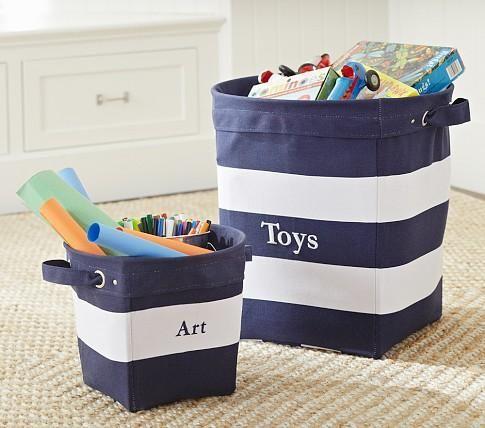 Decor/Accessories   Navy/White Striped Canvas Buckets | Pottery Barn Kids    Navy. Kids StorageStorage BasketsToy ...