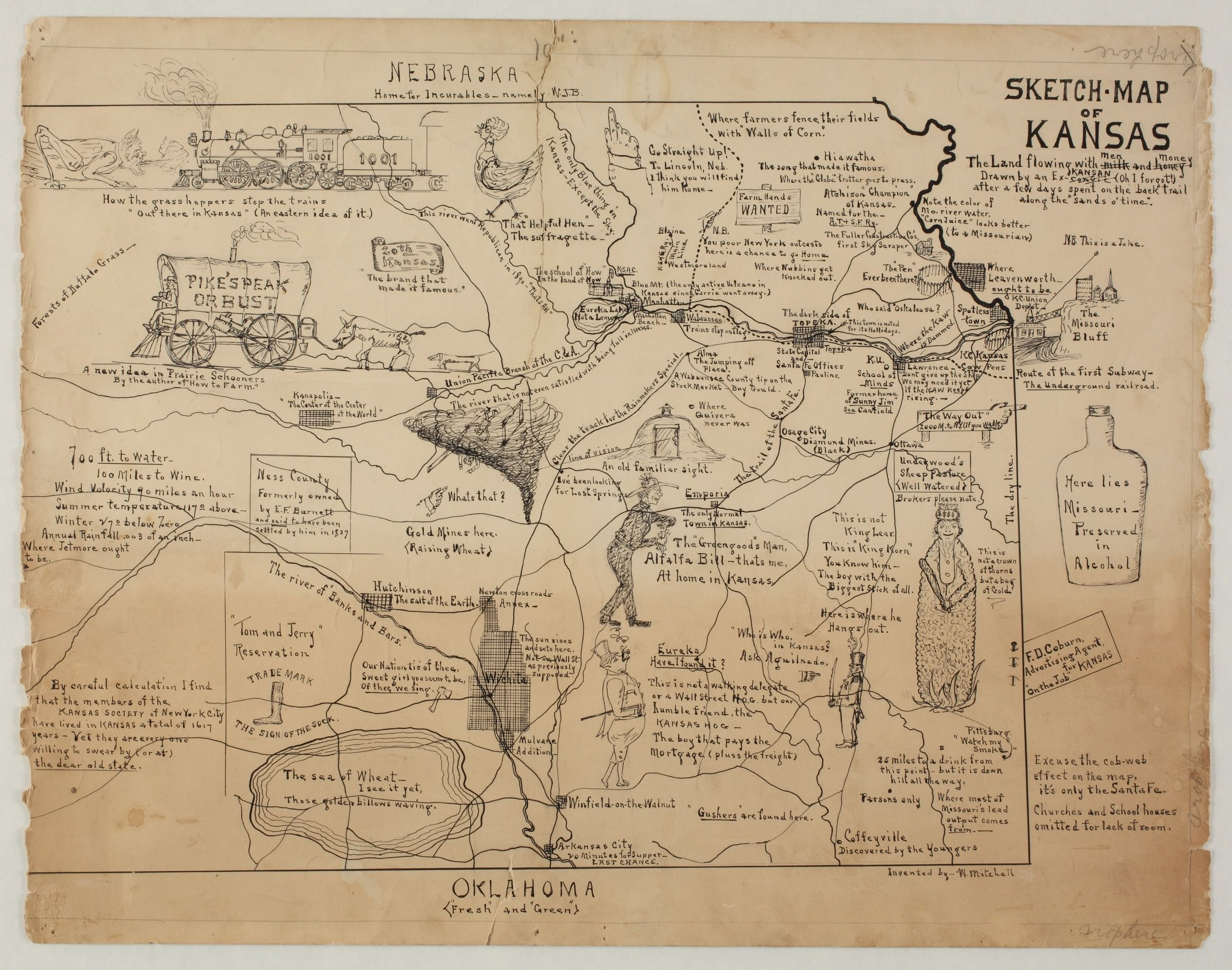 Ks A Cartoon Map Of The Underground Railroad By William