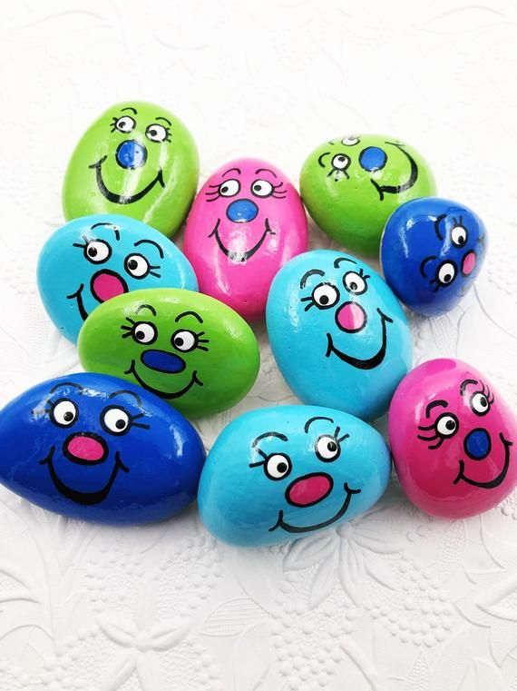 Worry Stones for Kids SET of 10, Pocket Rocks for Children, Back to School Comfort Stones, Silly Face Pocket Rocks, Easter Basket Gift