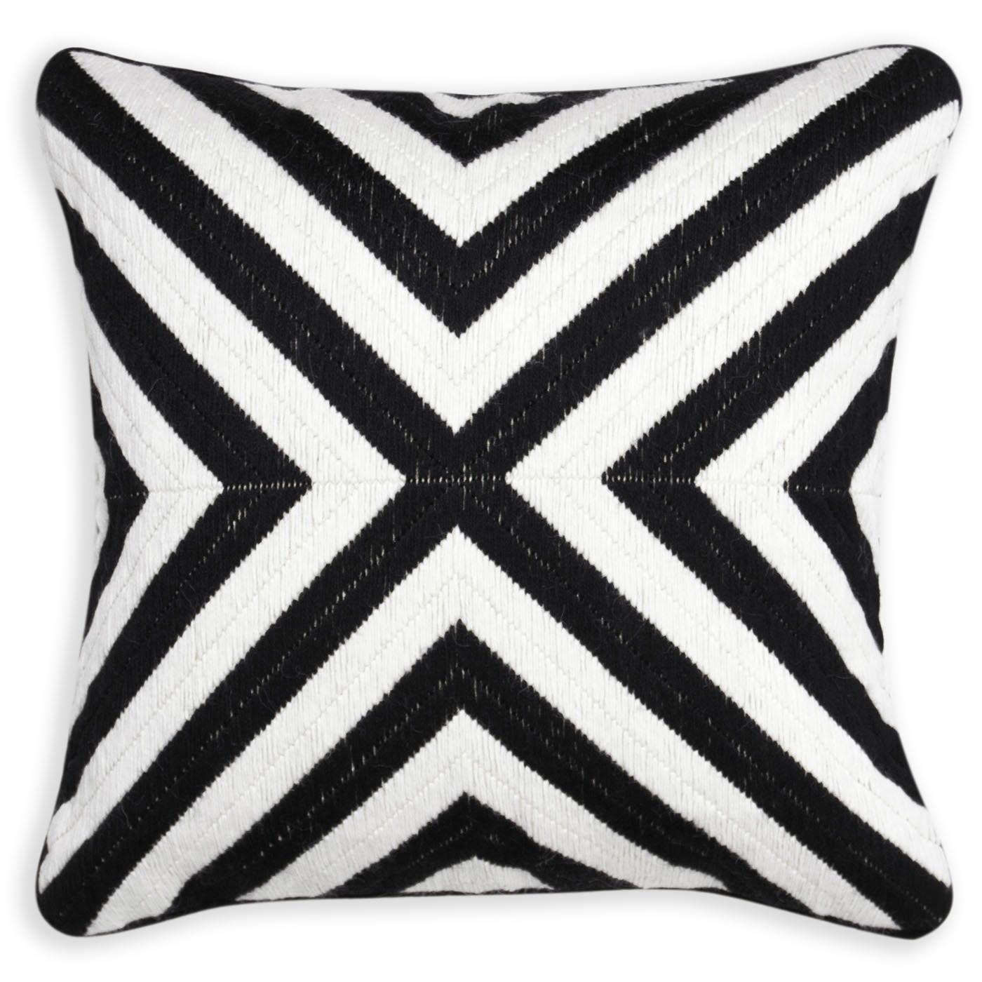 Black and white bridget bargello throw pillow modern décor pillows jonathan adler