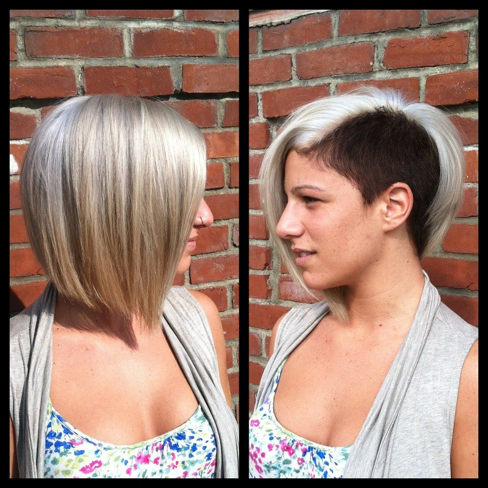 Two Tone Bob With Shaved Side Love The Blonde Short
