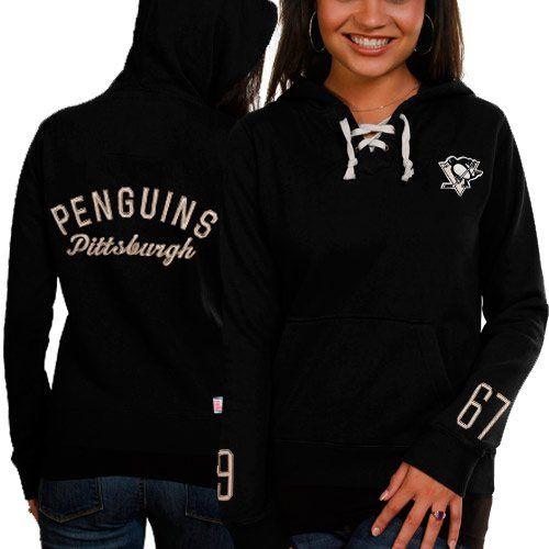 Old Time Hockey Pittsburgh Penguins Ladies Queensboro Lace-Up Pullover Hoodie Sweatshirt - Black