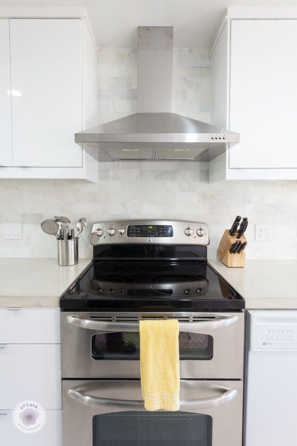 Exceptional Ikea Abstrakt White Kitchen With DIY Concrete Countertops And White Marble  Backsplash