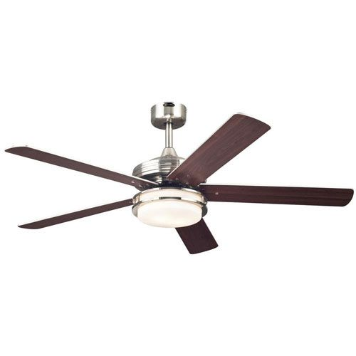 Castle Brushed Nickel 52 Inch Two Light Fluorescent Five Blade Ceiling Fan Ceiling Fan Ceiling Fan With Light Brushed Nickel Ceiling Fan