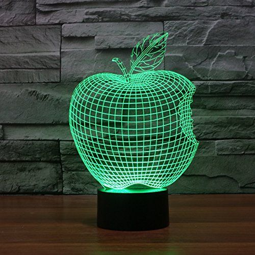 Led Apple Colore 3d Visual Illusion De Lumiere De Nuit En Trois Dimensions Toucher Leger Interrupteur Lampe Led Lampe Acrylique 3d Led Lamp Lamp 3d Night Light