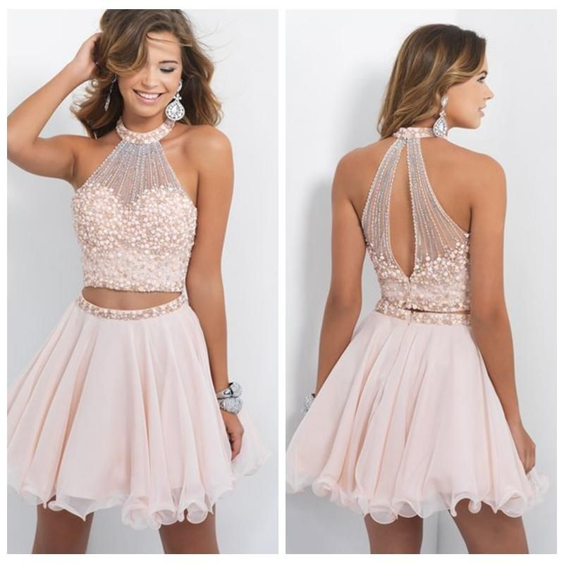 Cheap Blush Two Piece Homecoming Dresses High Neck Open Back ...