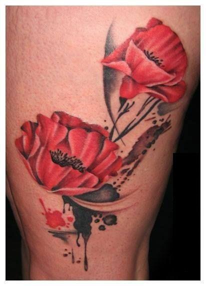 2e99f286b Poppies Tattoo Thigh poppy flower tattoo design for leg by ellegottzi