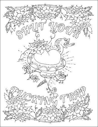 Shut Your Fng Trap Swear Words Adult Coloring Page Free Download From John T