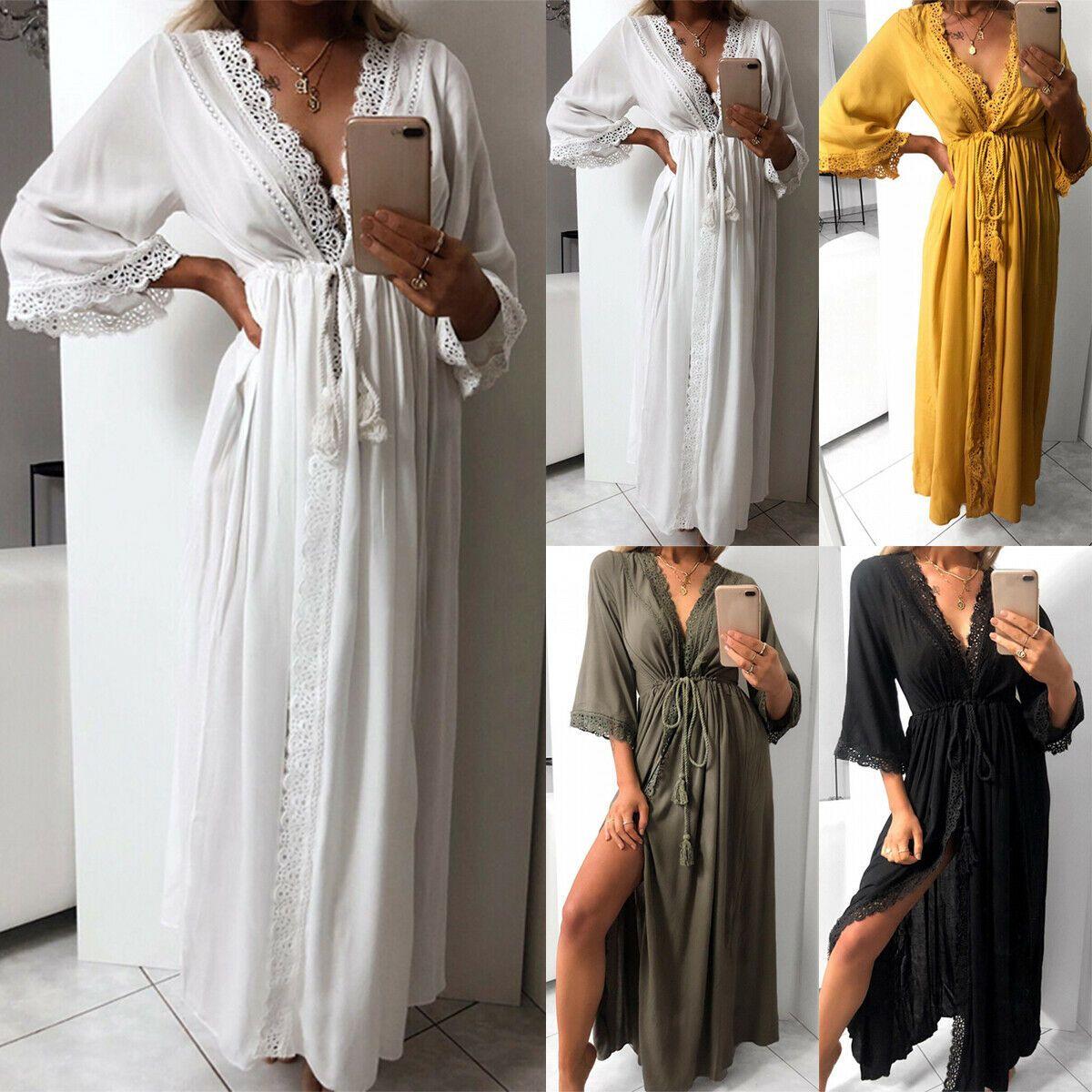 buy popular 24432 7912f Damen Spitze Wickelkleid Lang Strandkleid Kimono Sommekleid ...