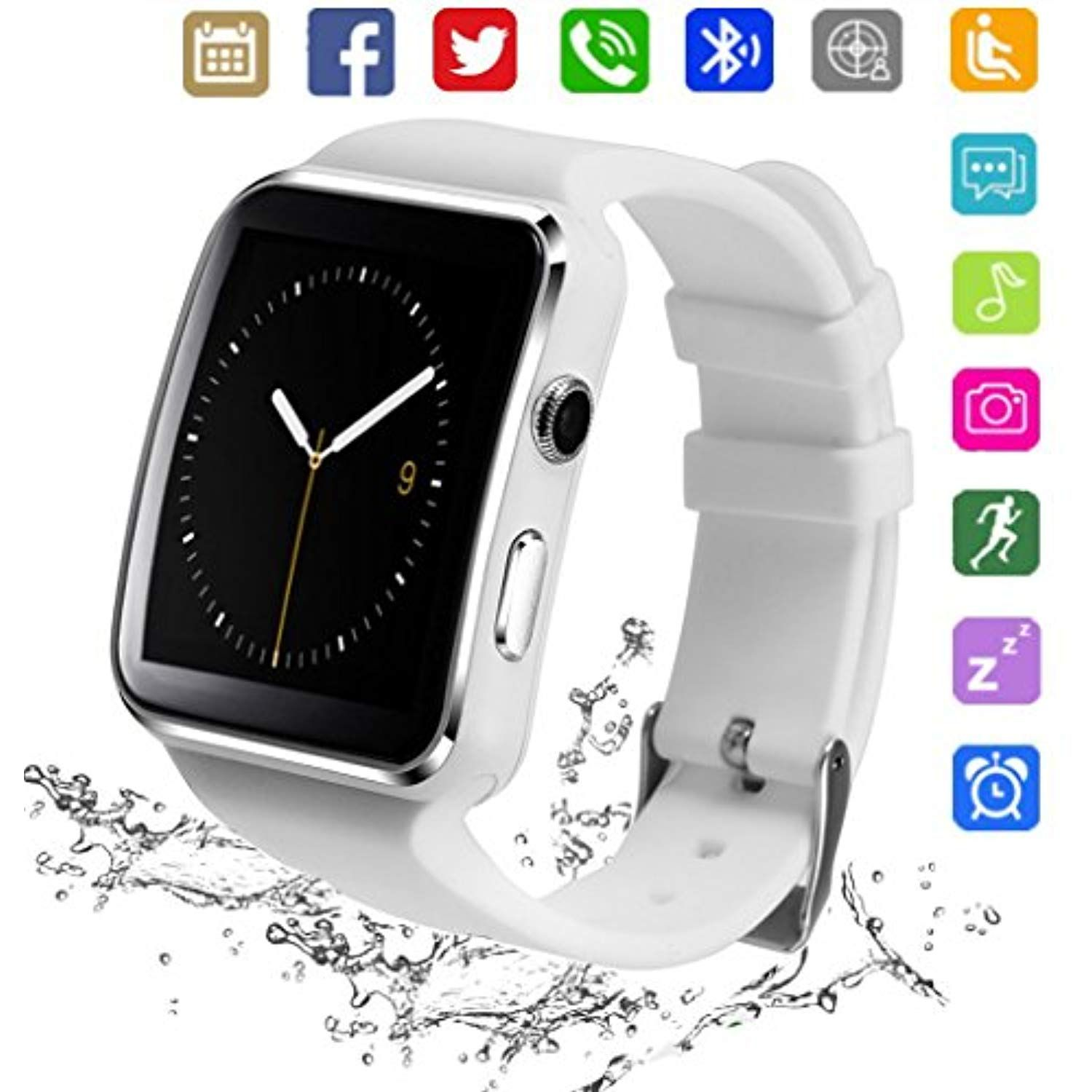 Bluetooth Smart Watch Kkcite Smartwatch Phone With Sim 2g Gsm For Android Smartphones Support Sleep Monitor Push Smart Watch Mens Digital Watches Camera Watch
