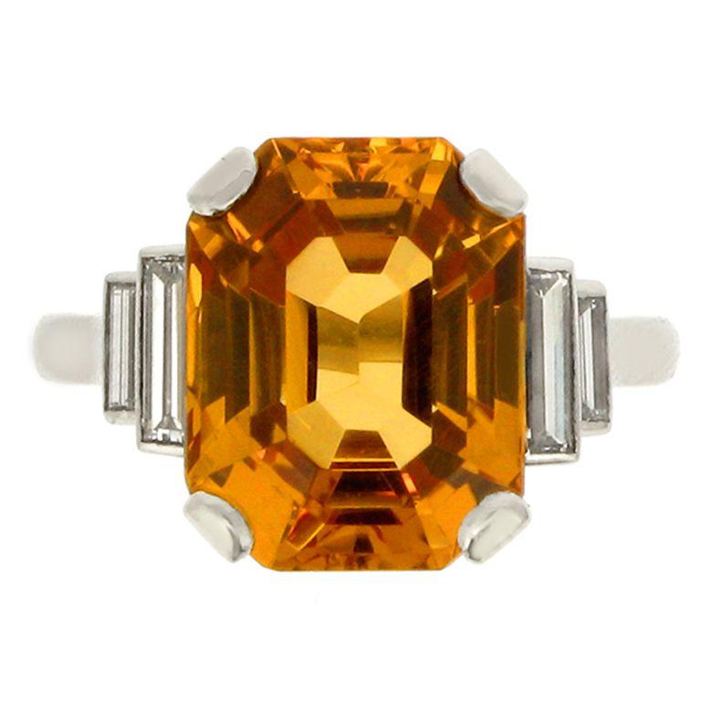 Art Deco Precious Topaz, Diamond and Platinum Ring;Circa 1935