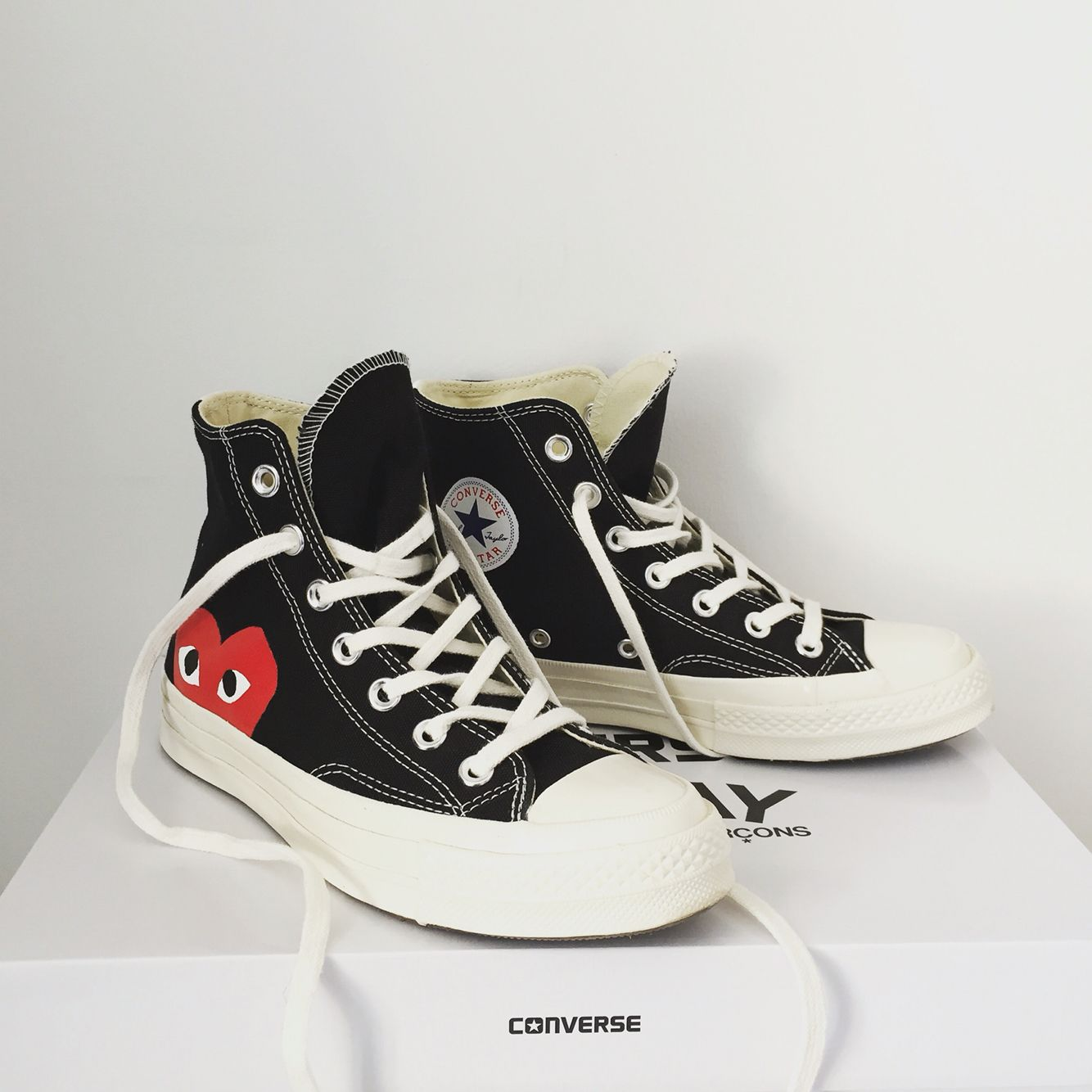 converse comme des garcons play high chuck taylor in black. Black Bedroom Furniture Sets. Home Design Ideas