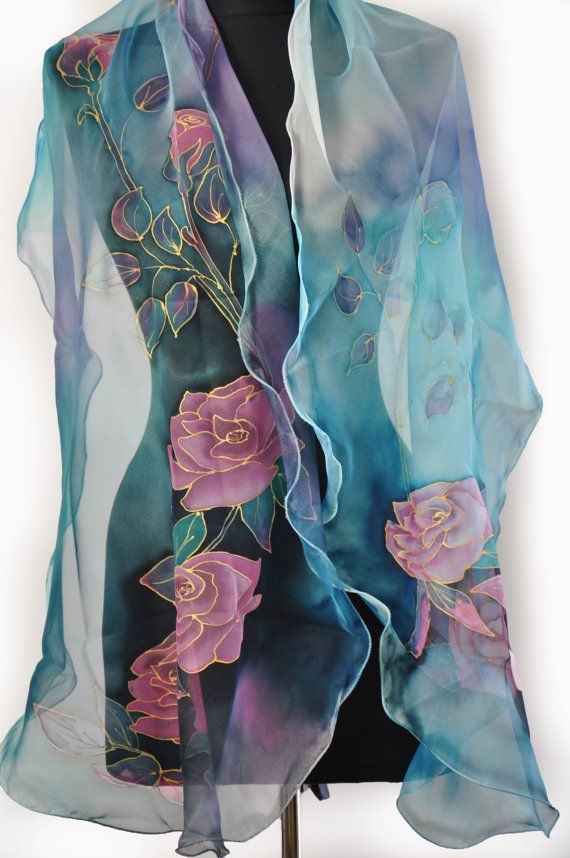 Blue roses, hand painted silk scarf, long silk scarf painted by hand, silk- chiffon hand painted , blue flowers, exotic luxury chiffon shawl . Woman silk scarf, woman luxury gift. Painting silk , beautiful accessorie! Beautiful long silk accessory for your happy day! This scarf is a wonderful